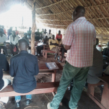 Platform Steering Committee Members during a meeting with communities living in the Central Forest Reserve peak and enclave