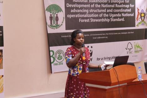 Global woods Uganda representative giving testimonies on NFSS.