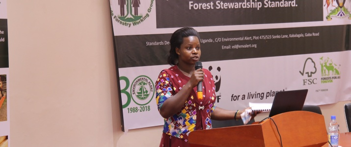 Global woods Uganda representative giving testimonies on NFSS.